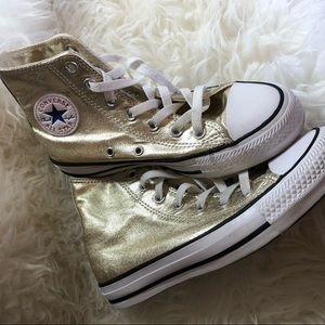 Women's size 5 gold metallic converse high top